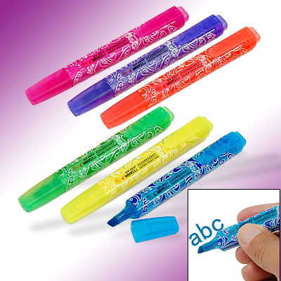 6 PCS Assorted Highlighter Marker Pen with Chisel Tip