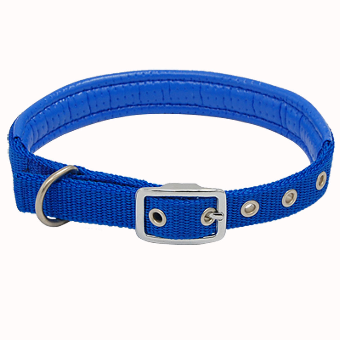 Blue Leather Nylon Buckle Dog Collar