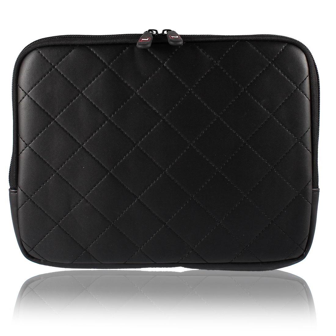 "10"" 10.1"" 10.2"" Black Faux Leather Laptop Sleeve Bag Case + Zipper"