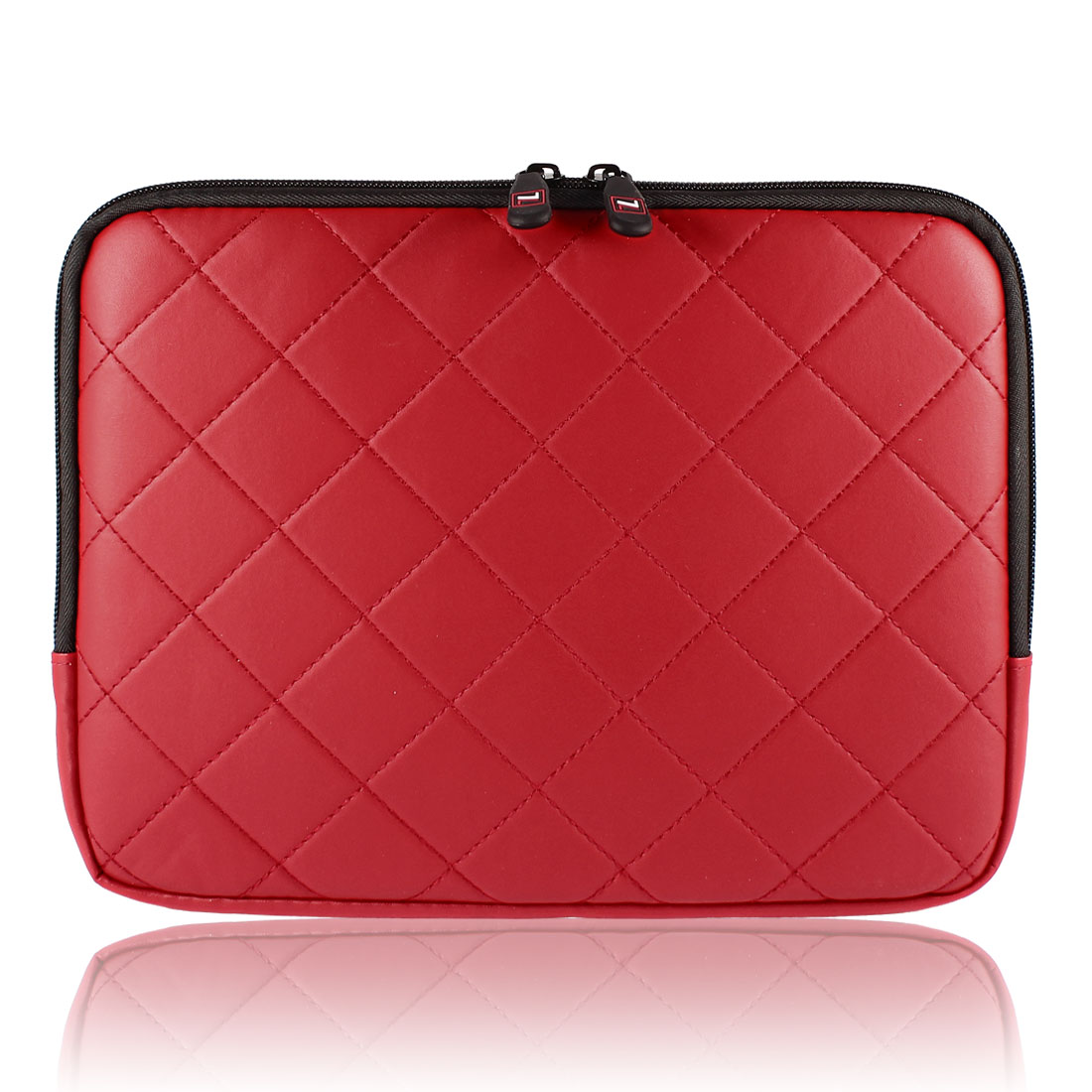 "10"" 10.1"" 10.2"" Red Faux Leather Laptop Sleeve Bag Case + Zipper"