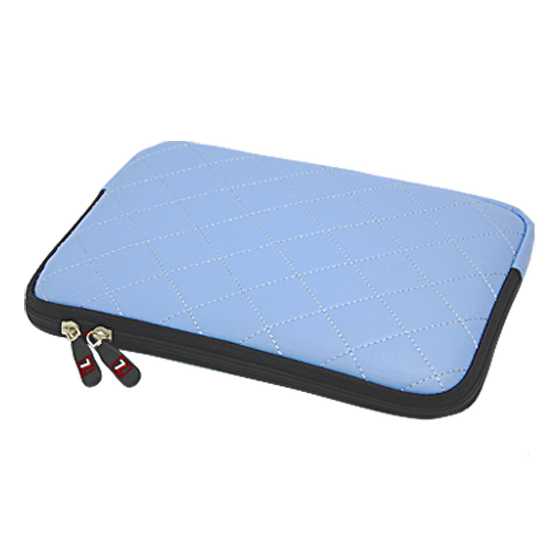 "10"" 10.1"" 10.2"" Sky Blue Dual Zipper Faux Leather Laptop Sleeve Bag Case for iPad"