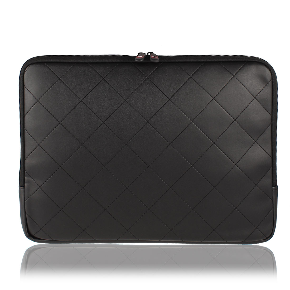 "14"" 14.1"" Black Faux Leather Notebook Laptop Sleeve Bag Case w Zipper for HP"