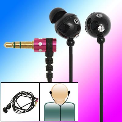 Rhinestone Black Soft In Ear Headphone Earphone for MP3