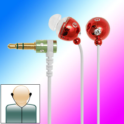 3.5mm Rhinestone Golden Plated MP3 Earphone - Red