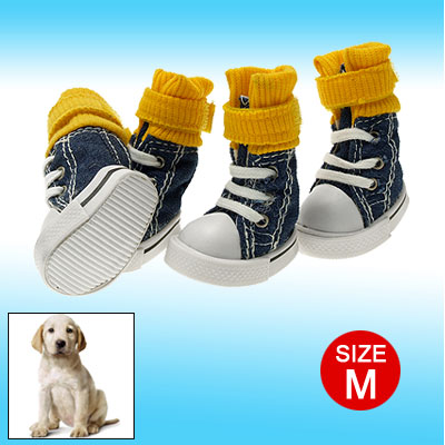 Dog Shoes Pet Yellow Hook and Loop Fastener Travel Street Sport Boot
