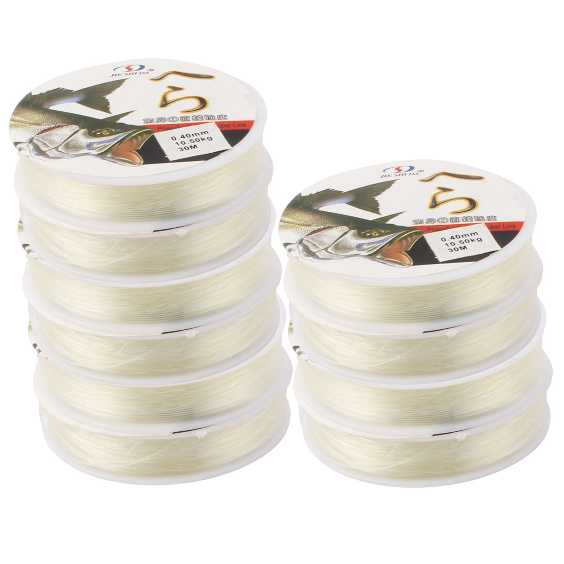 10pcs x Clear Monofilament Fishing Line 10.5Kg 30M 0.40mm Dia