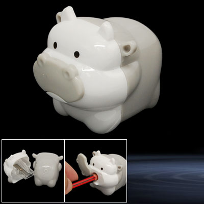 Mini Cartoon Milk Cow Plastic Pencil Sharpener Gray White