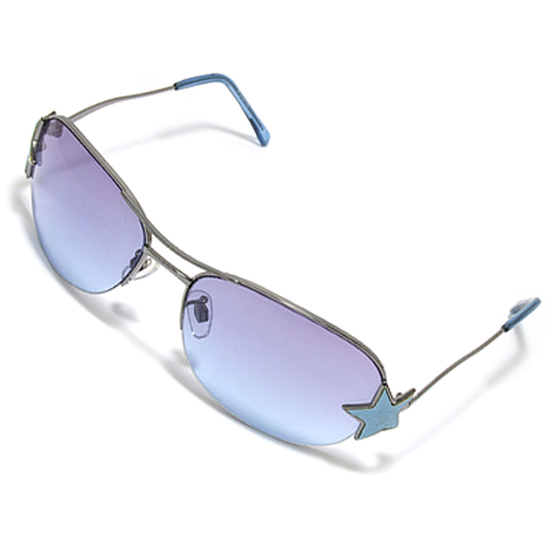 Purple Blue Lens & Metal Frame of Women's Sport Sunglasses