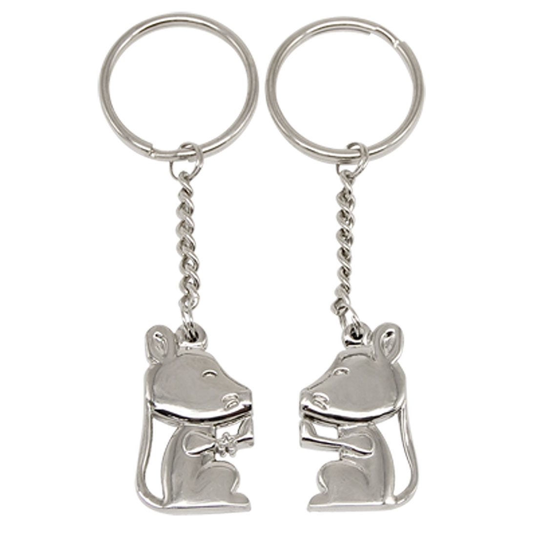 2PCS Magnetic Kissing Mouse Mice Silvery Key Chain Ring