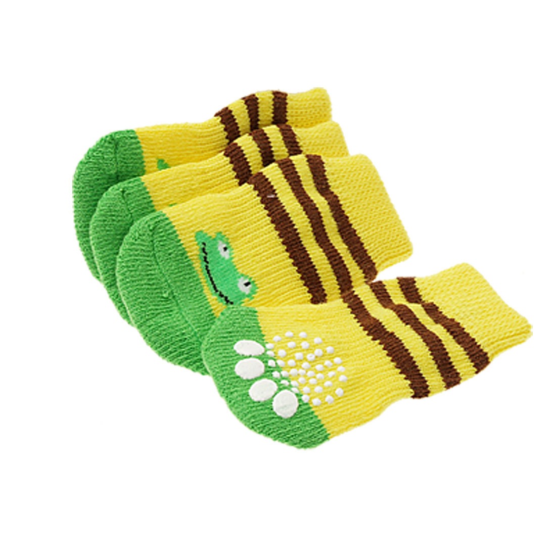 4 Pcs Pet Dog Puppy Socks with Frog Pattern 8 x 4cm