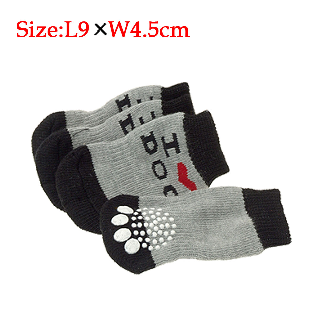 I Love Dog Knitted Nonskid Pet's Socks Gray Black