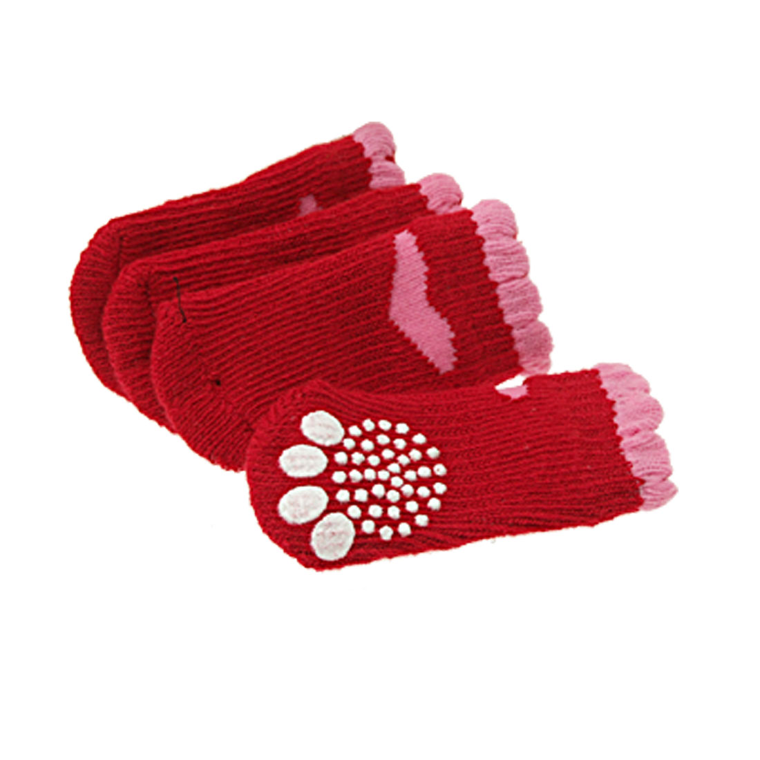 L7 x W3cm Red Pink Nonskid Pet Dog Warm Socks