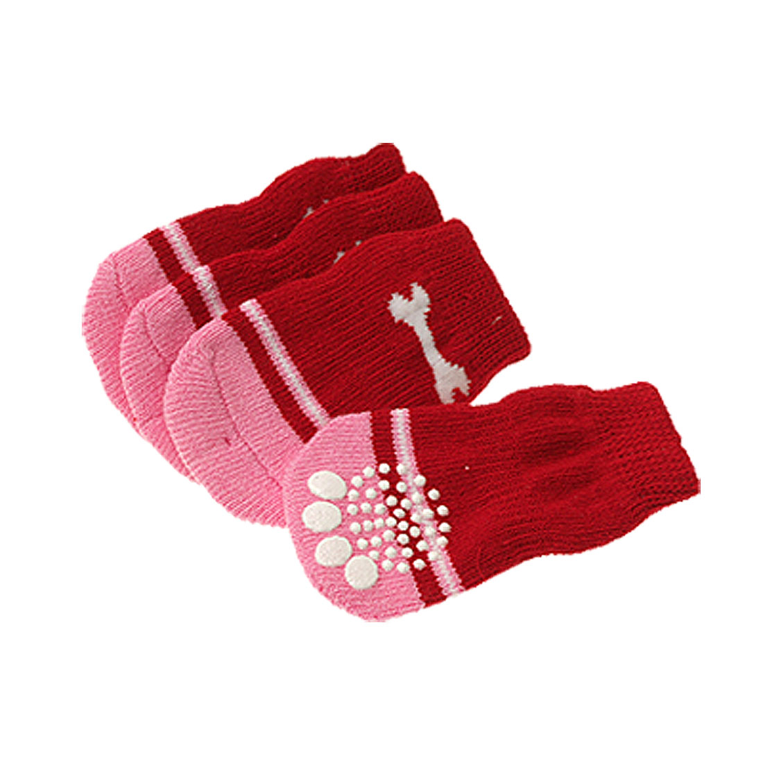 Puppy Dog Pet's Winter Comfy Socks Anti-slip Decoration Red 8.5 x 4.5cm