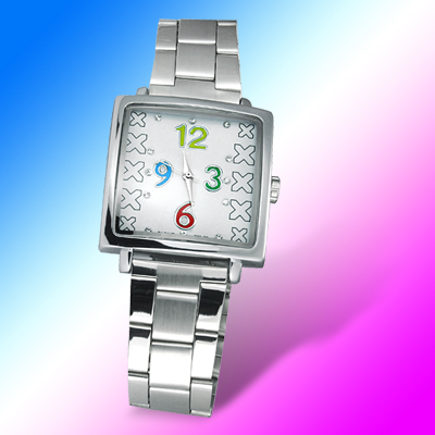 X Pattern Rhinestone Decorate Steel Band Men's Wrist Watch