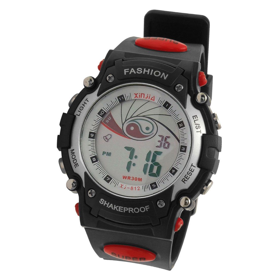 Cool Black Digital Plastic Band Men's Shakeproof Wrist Watch