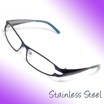 Unisex Full Rim Stainless Steel Eyeglasses Frame Blue