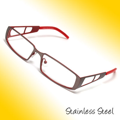 Full Rim Stainless Steel Eyewear Eyeglasses Frame Grey Red