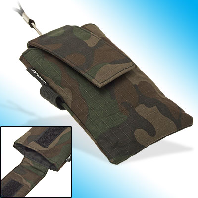Camouflage Army Fabric Phone Wrist Bag w. Neck String for Nokia