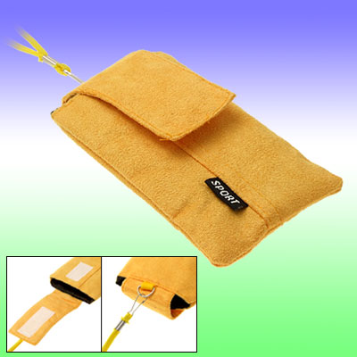 Stylish Flannel Yellow Mobile Phone Bag with a Neck String