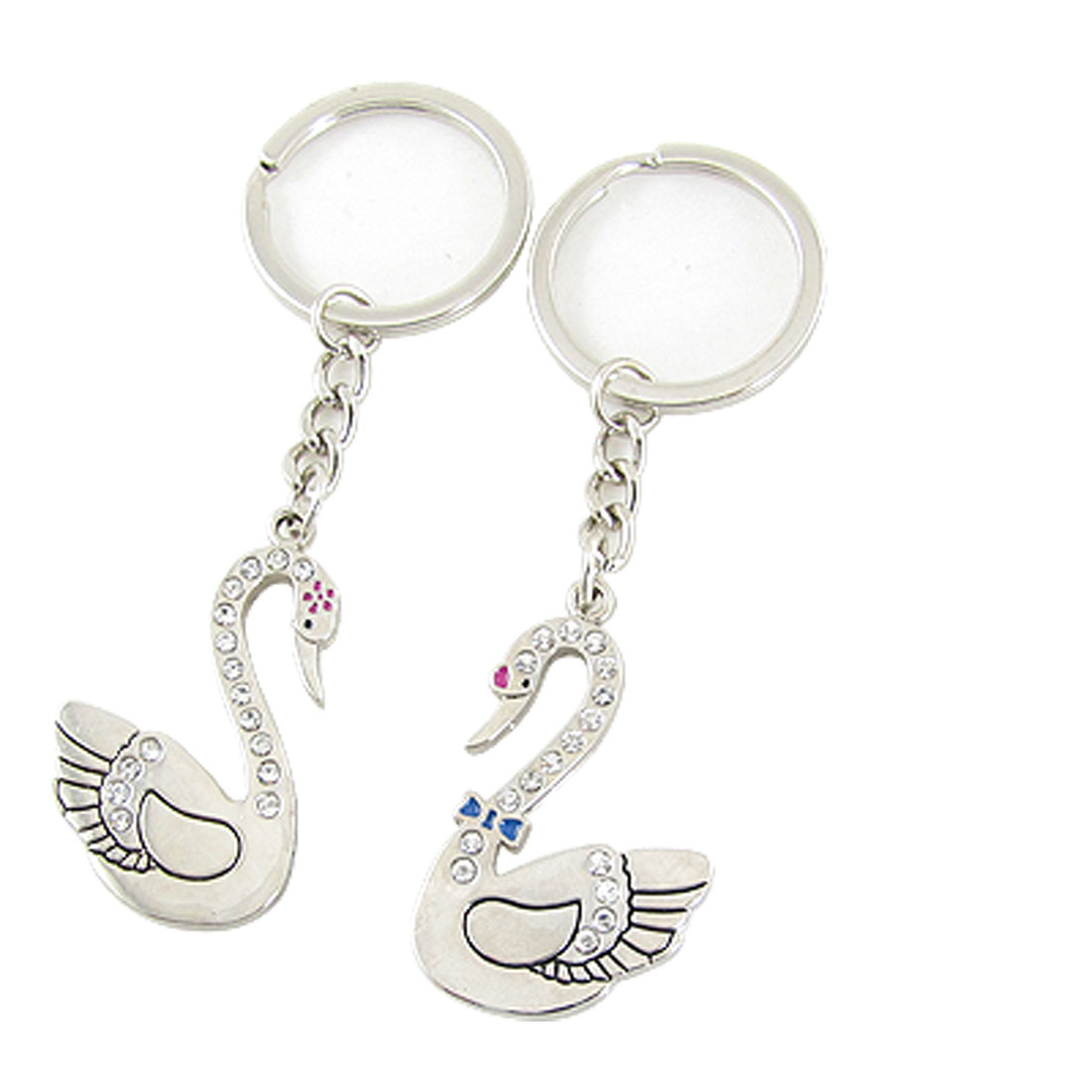 Rhinestone Swan Pendant Pair Lovers' Keychain Key Ring