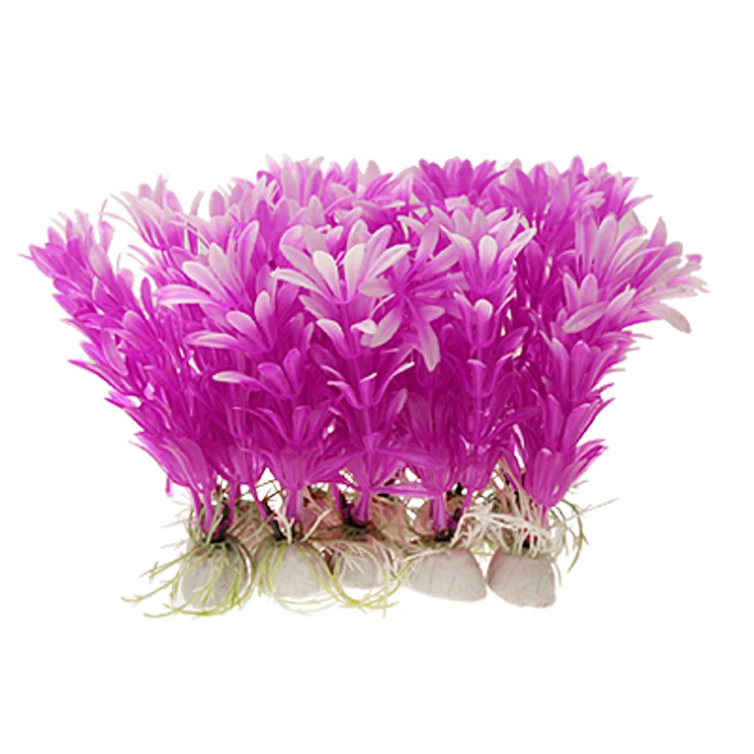 Underwater Plastic Purple Aquarium Plants Fish Tank Ornament