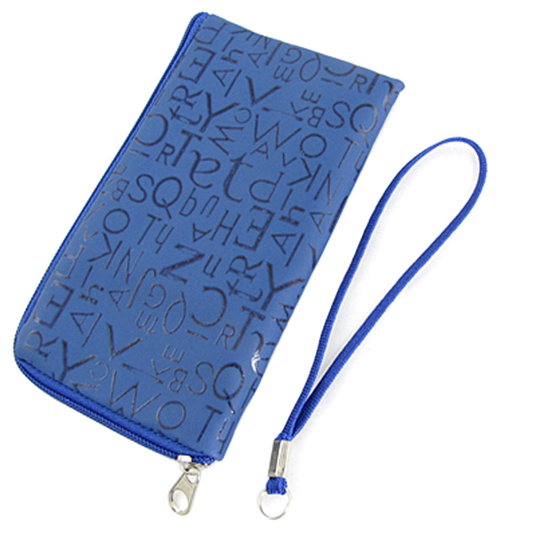 Cell Phone Wallet Letters Pattern Pouch Blue w Hand Strap