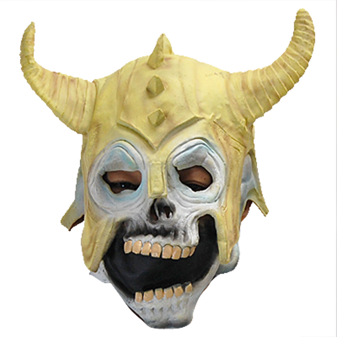 Yellow Ox Horn Big Mouth Rubber Halloween Mask With Elastic Line
