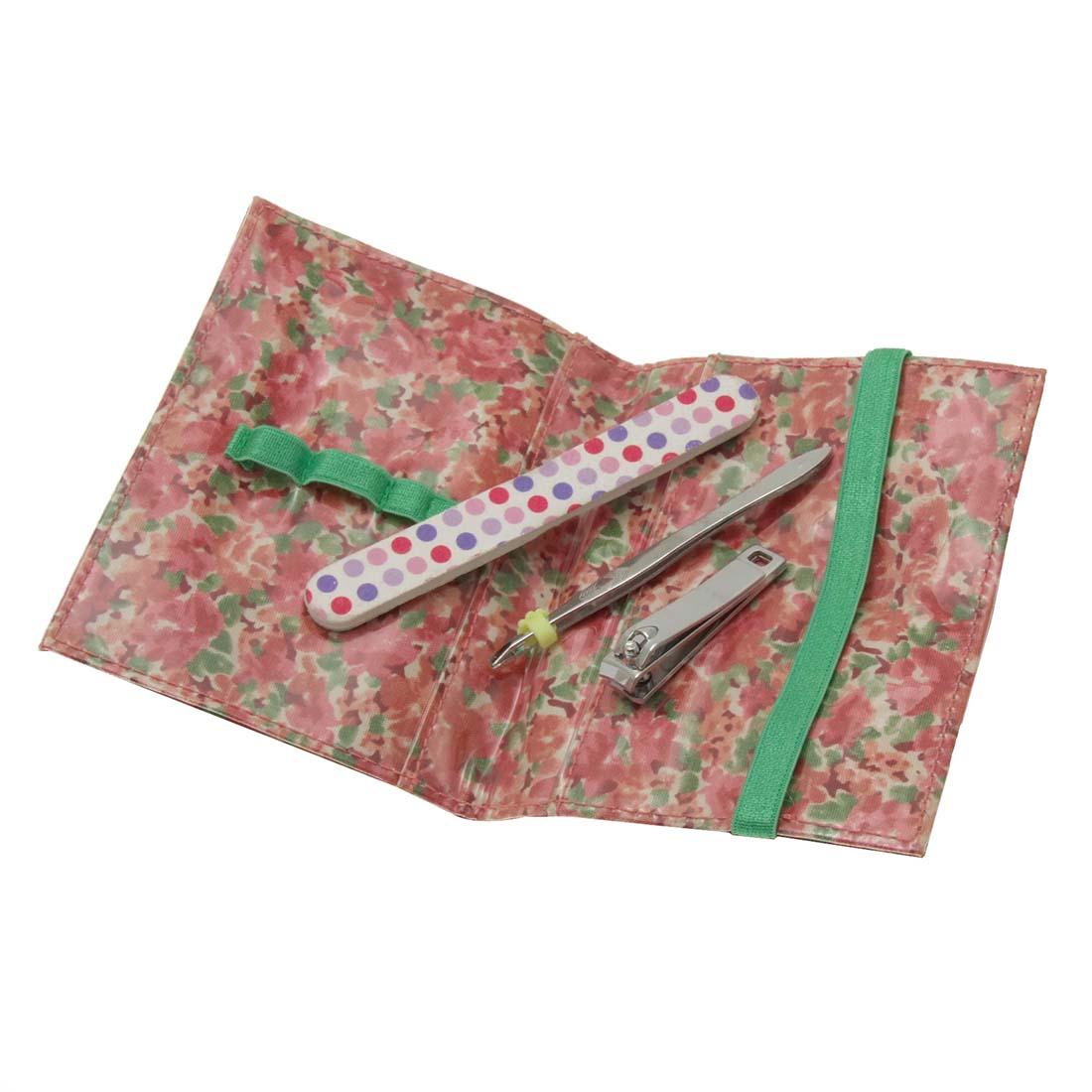 Nail File Eyebrow Clip Tweezers Clip 3 in 1 Cosmetic Set Ladies' Wallet