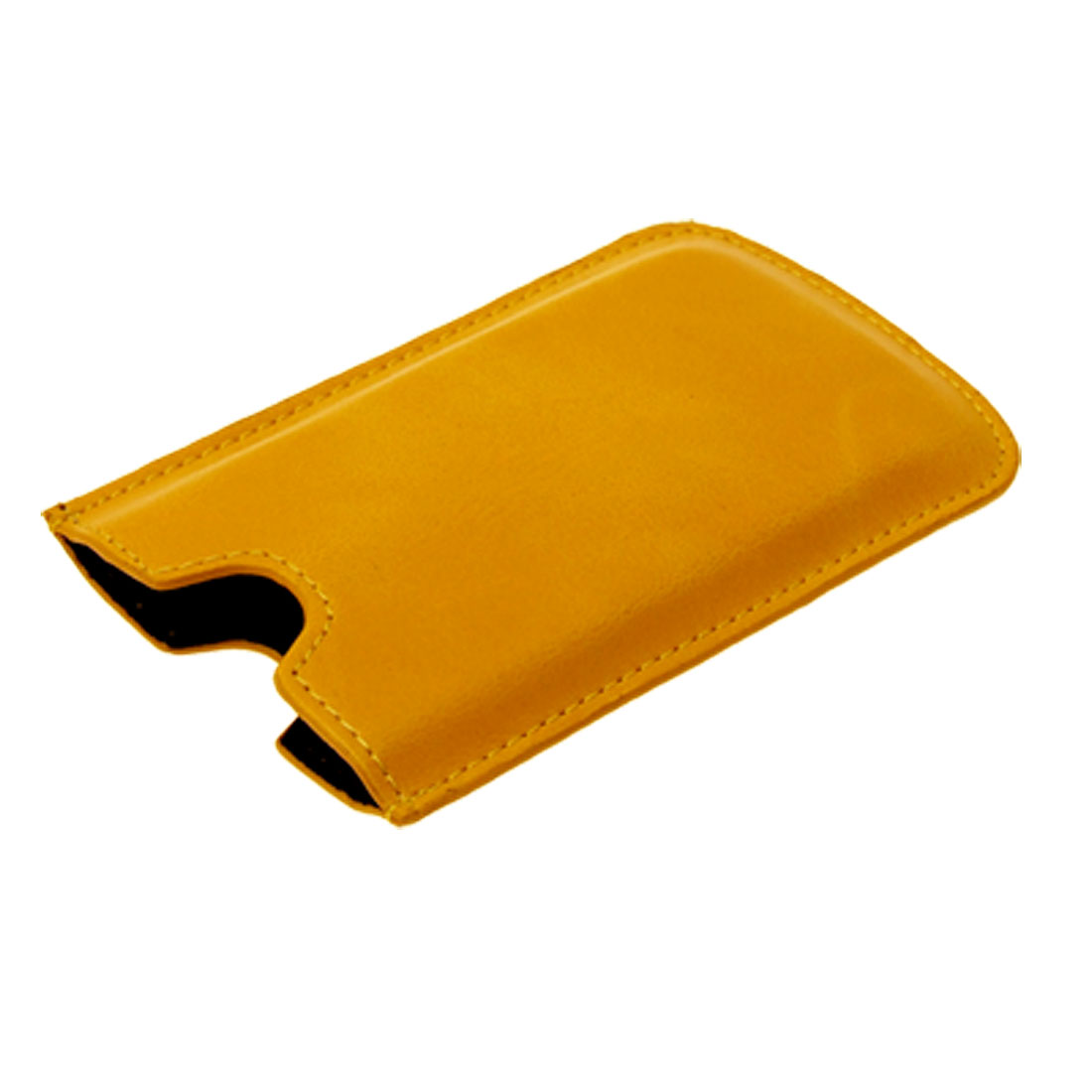 Portable Faux Leather Pouch Case for iPhone 3G Yellow