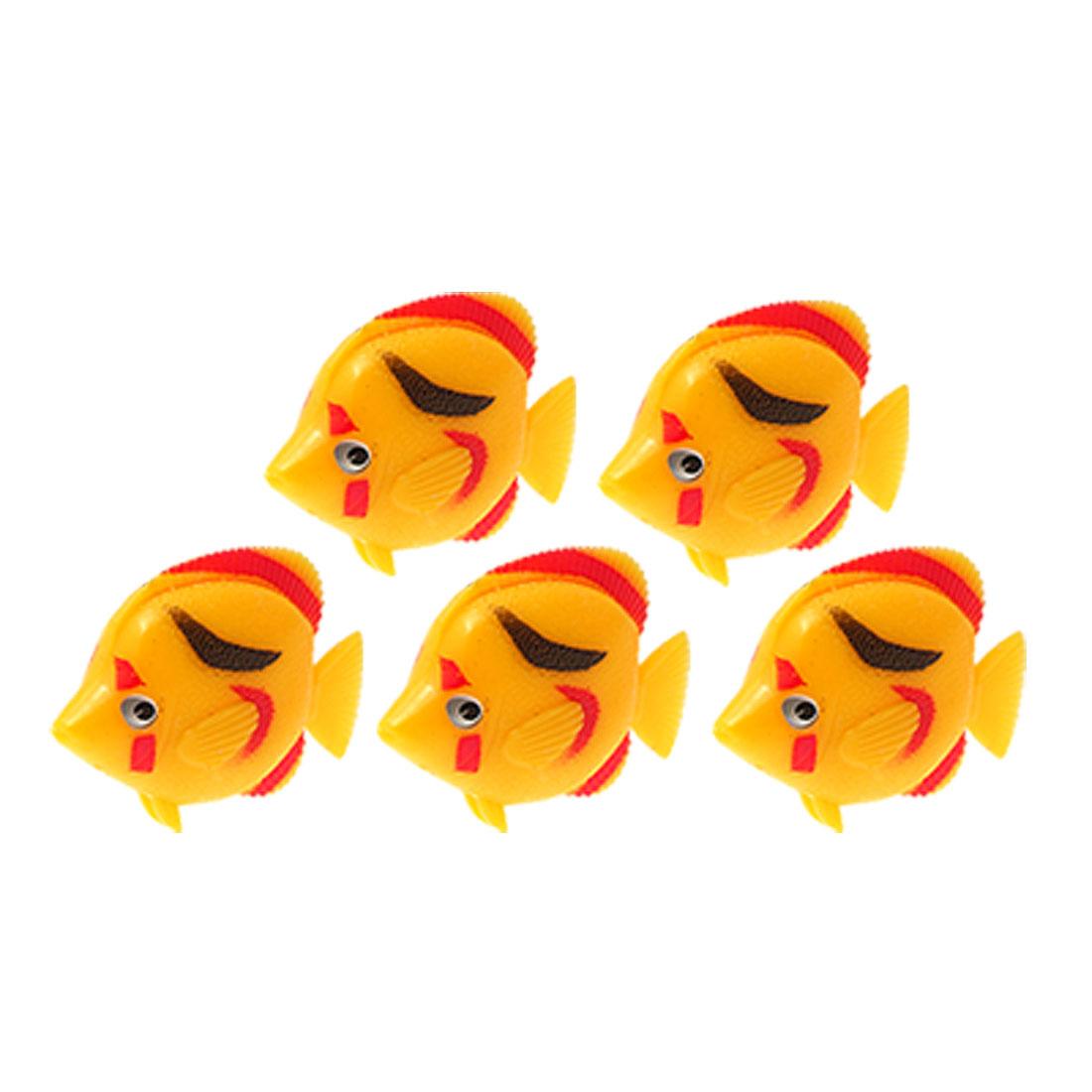 Vivid Yellow Plastic Fish Aquarium Water Tank Decor