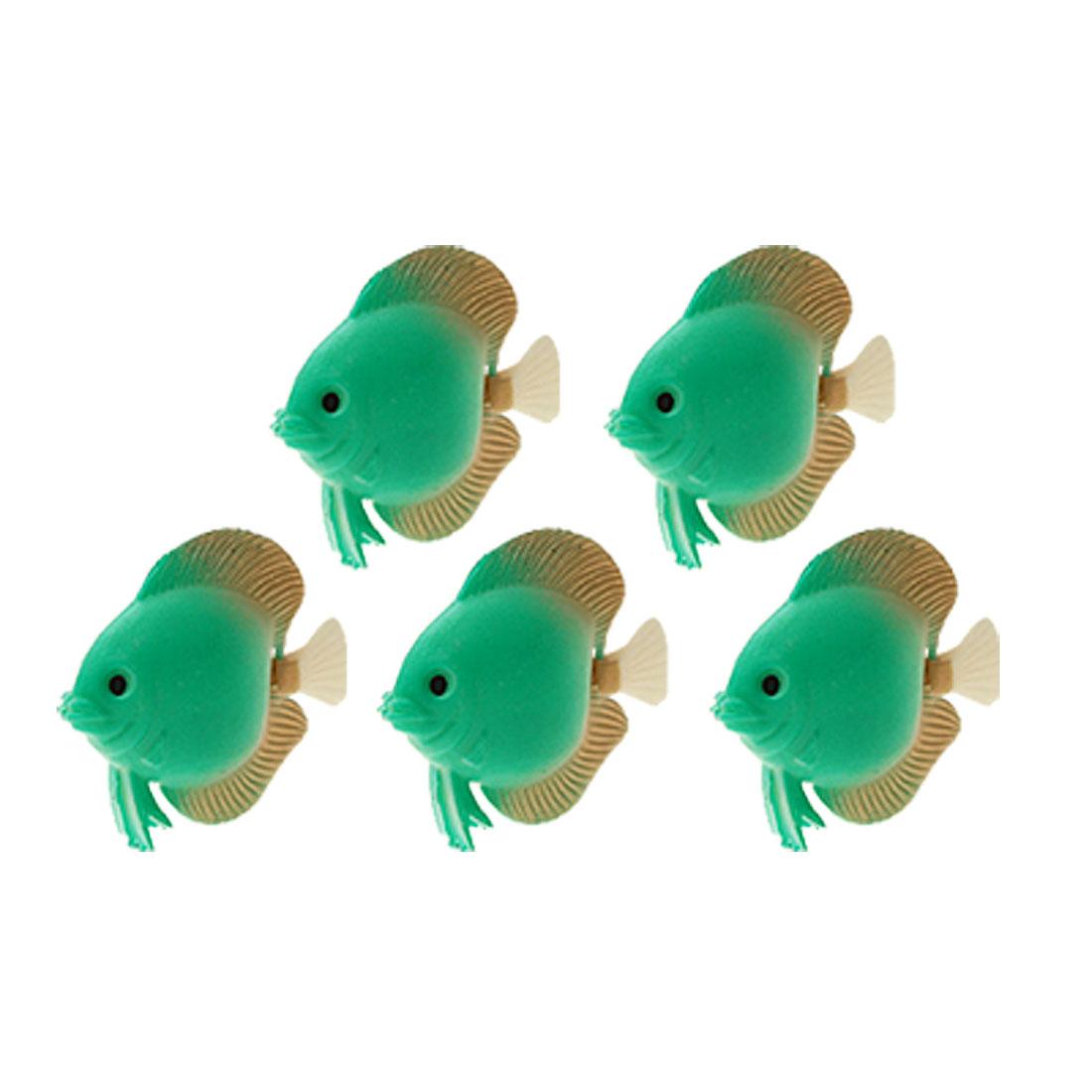 5 Pieces Plastic Green Fish for Aquarium Water Tank