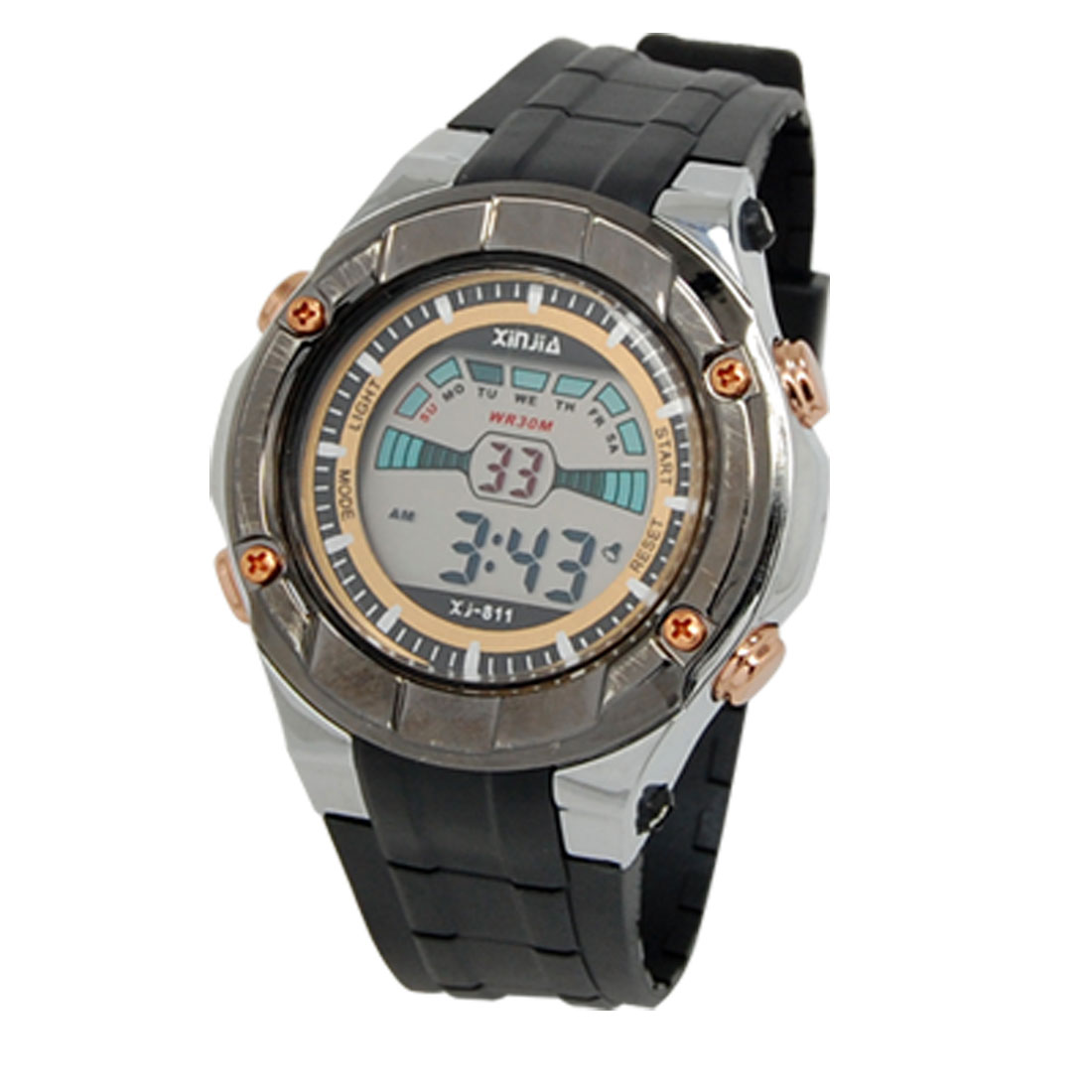 Black Soft Plastic Watchband Round Dial Student's Sport Watch