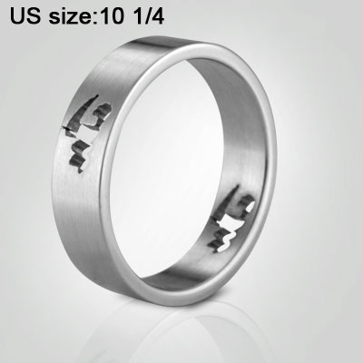 Slim Silvery Steel Fashion Finger Ring US Size 10 1/4