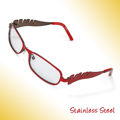 Girls' Full Rim Stainless Steel Optical Eyeglasses Frame Red