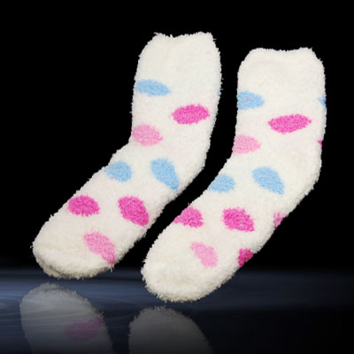 Soft & Cosy Chenille Socks White with Blue & Red