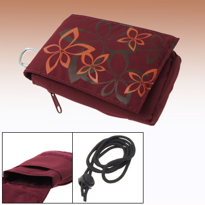Crimson Fabric Pocket Portable Fashion Phone Pouch