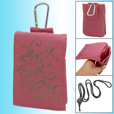 Flower Pattern Pink hook and loop fastener Style Mobile Bag Phone Pouch Case