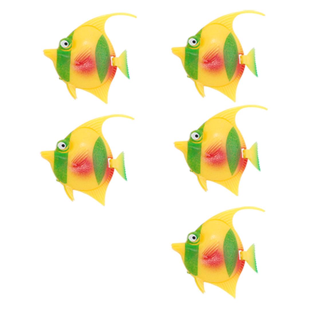 Yellow Green Plastic Fish Aquarium Tank Decor Ornament