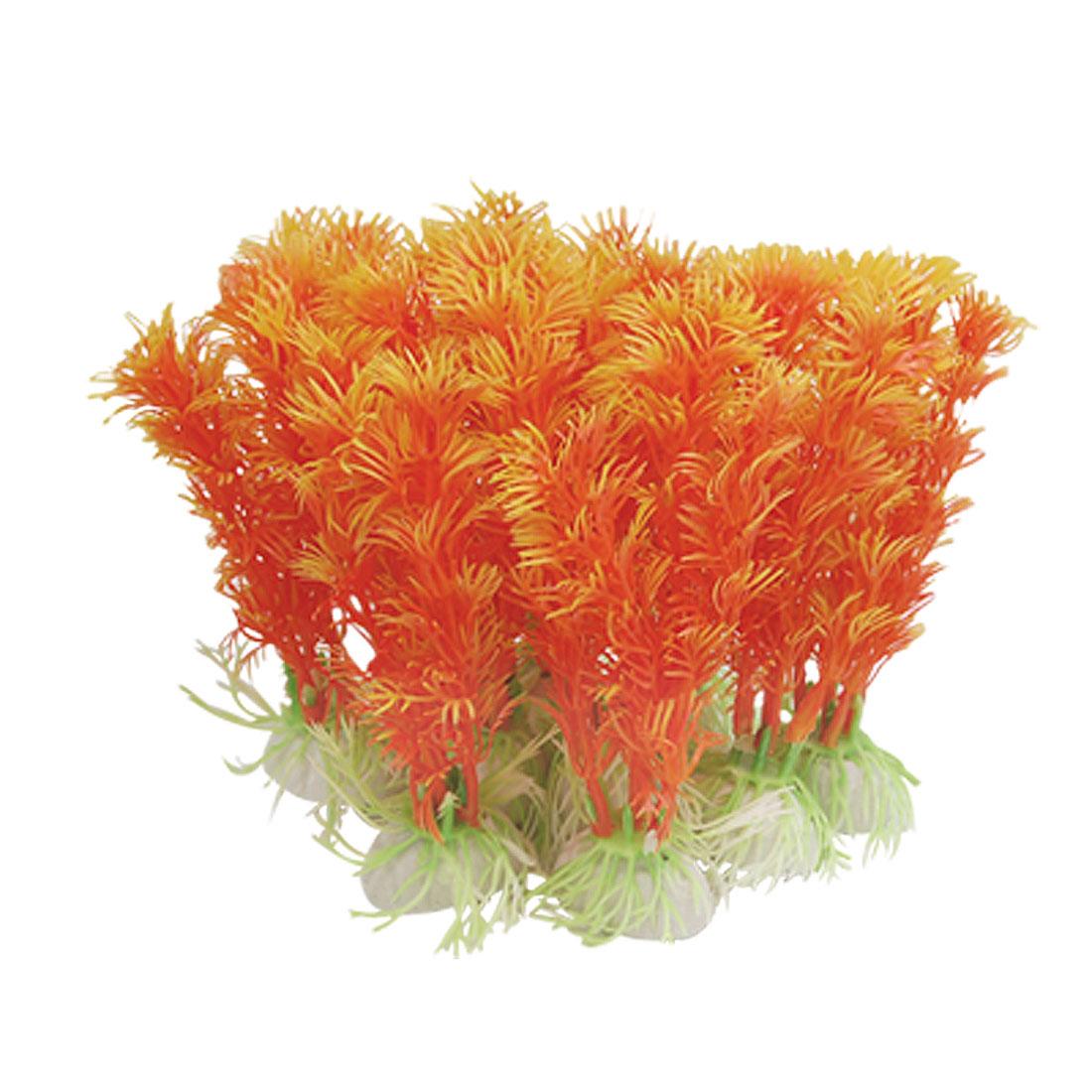 Men-made Plastic Aquarium Tank Plants Decoration Orange