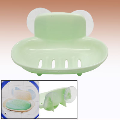 Bathroom Plastic Wall Mount Suction Cup Soap Dish Tray Holder Green