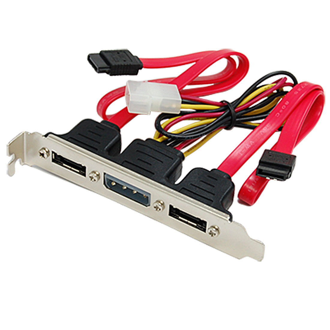 2 Port eSATA + 4 Pin Power Bracket Slot to SATA Cable