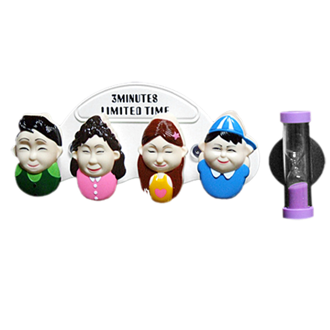 Family Cute Bathroom Toothbrush Holder w. Purple Hour Sandglass Timer