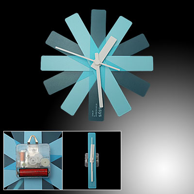 Plastic Changeable Shape Blue w. White Wall Mounted Random Clock