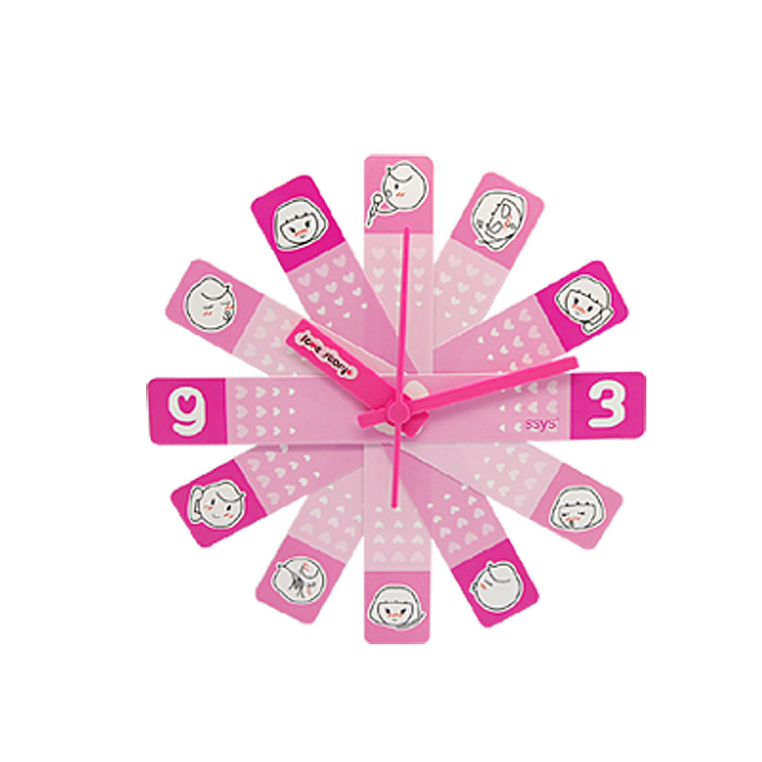 Pink Changeable Style Plastic Wall Mounted Random Clock