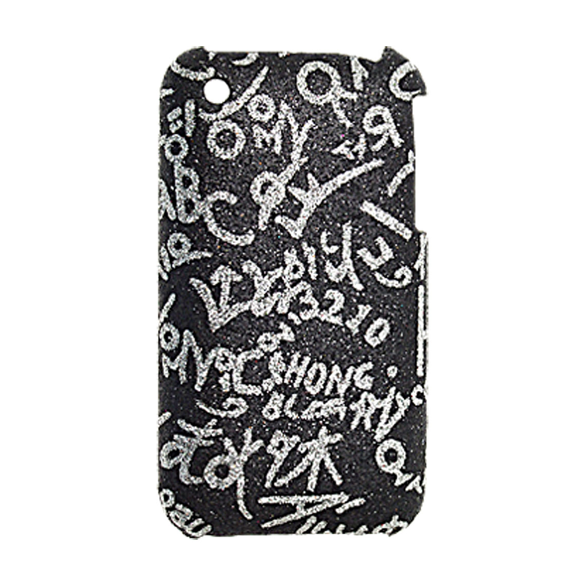 Plastic Back Case with Letter Pattern for iPhone 3GS Black