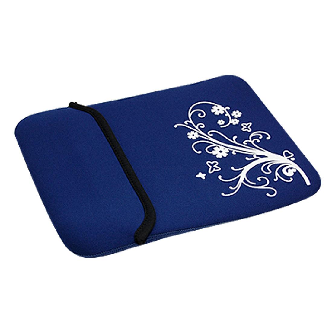 """10"""" 10.1"""" 10.2"""" Blue Neoprene Flower Tablet PC Laptop Sleeve Bag Case for iPad"""