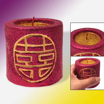 Red Double Happiness Glittery Surface Pillar Candle