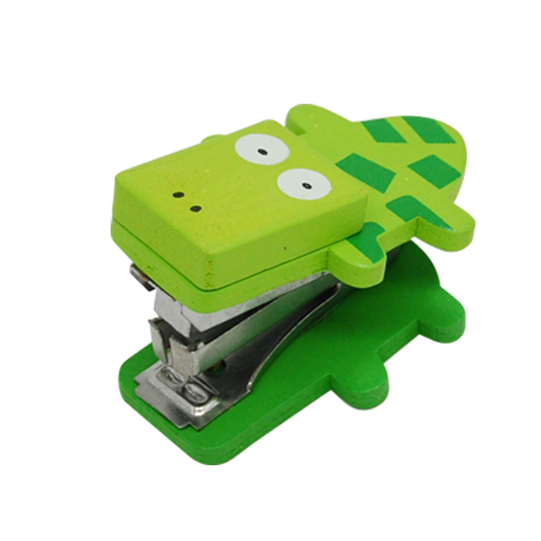 Green Crocodile Design Mini Portable Wooden Desk Stapler