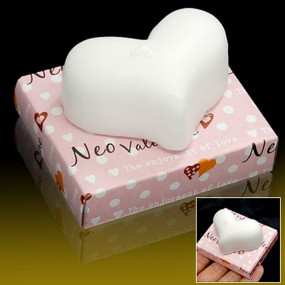 White Heart Shape Wax Candles for Wedding Parties Favor
