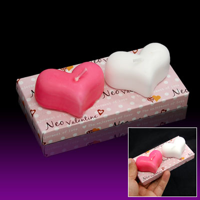 Pair Heart Shape Votive Wax Candles for Wedding Favor
